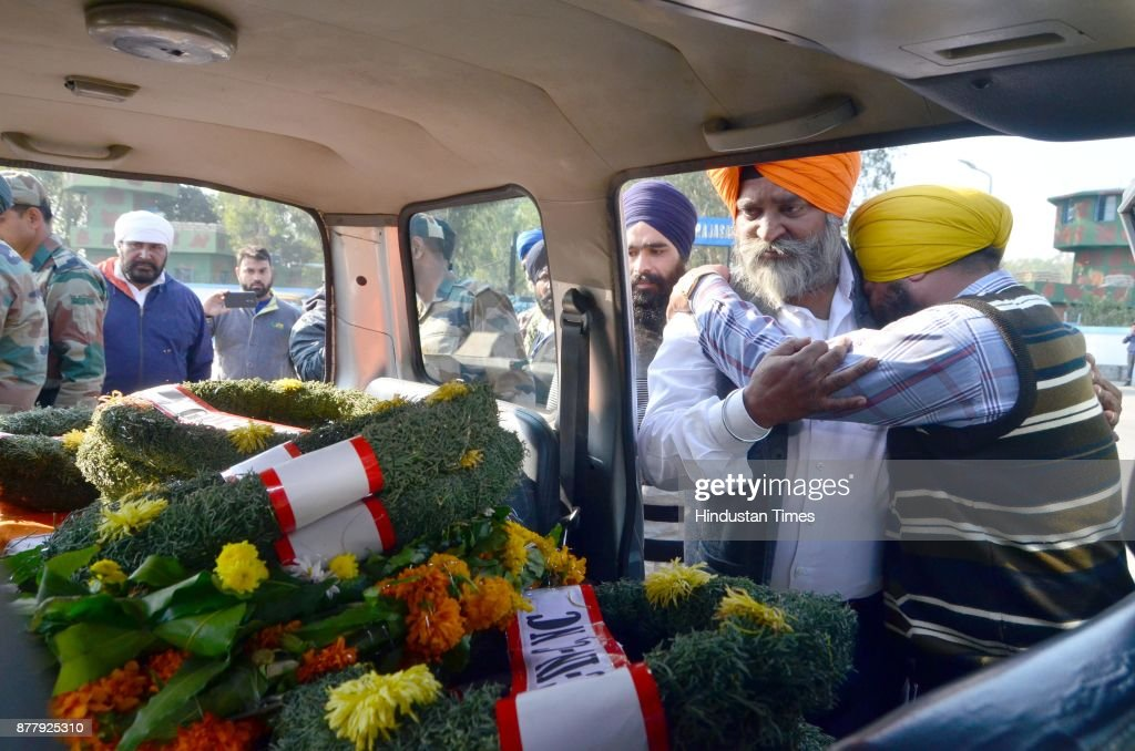 Mortal Remains Of Martyr Sepoy Mandeep Singh Arrives At Amritsar Air Force Station