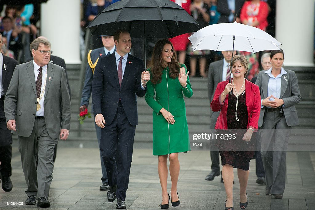 Waipa Mayor Jim Mylchreest, Prince William, Duke of Cambridge, Catherine, Duchess of Cambridge and Robyn Mylchreest leave the Cambridge Town Hall on April 12, 2014 in Cambridge, New Zealand. The Duke and Duchess of Cambridge are on a three-week tour of Australia and New Zealand, the first official trip overseas with their son, Prince George of Cambridge.
