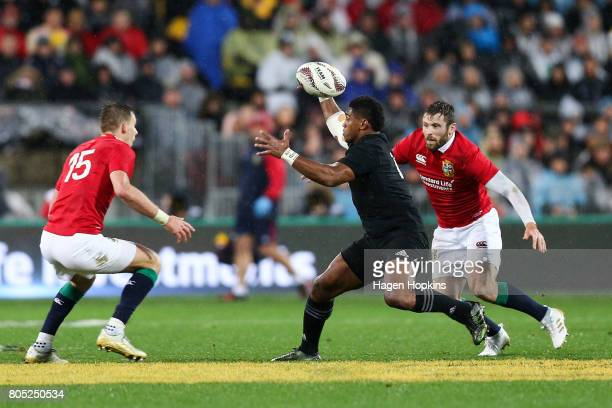 Waisake Naholo of New Zealand controls a loose ball during the International Test match between the New Zealand All Blacks and the British Irish...
