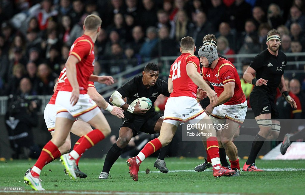 Waisake Naholo of New Zealand on the charge during the International Test match between the New Zealand All Blacks and Wales at Forsyth Barr Stadium on June 25, 2016 in Dunedin, New Zealand.