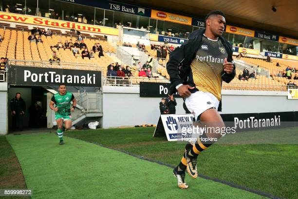 Waisake Naholo of Taranaki and Ngani Laumape of Manawatu take the field to warm up during the round nine Mitre 10 Cup and Ranfurly Shield match...