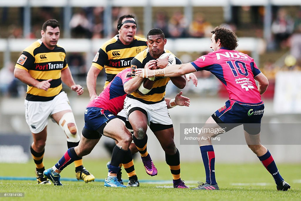 Waisake Naholo of Taranaki on the charge during the Mitre 10 Cup Semi Final match between Taranaki and Tasman on October 23, 2016 in New Plymouth, New Zealand.