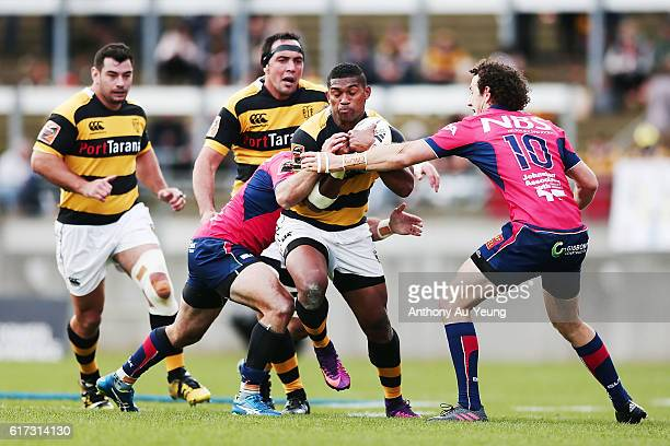 Waisake Naholo of Taranaki on the charge during the Mitre 10 Cup Semi Final match between Taranaki and Tasman on October 23 2016 in New Plymouth New...