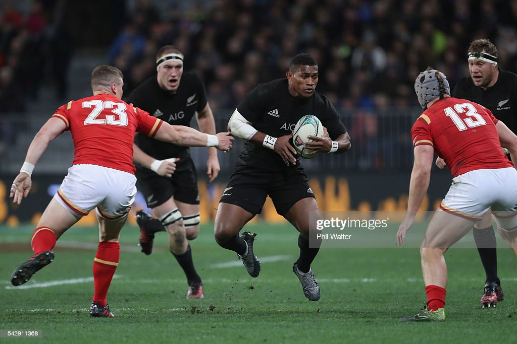 Waisake Naholo of the All Blacks looks for a gap during the International Test match between the New Zealand All Blacks and Wales at Forsyth Barr Stadium on June 25, 2016 in Dunedin, New Zealand.