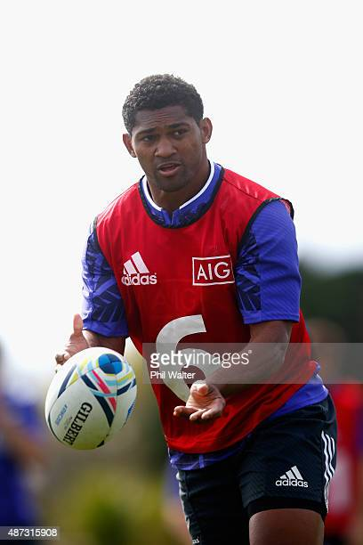 Waisake Naholo of the All Blacks passes during a New Zealand All Blacks training session at Trusts Stadium on September 9 2015 in Auckland New Zealand
