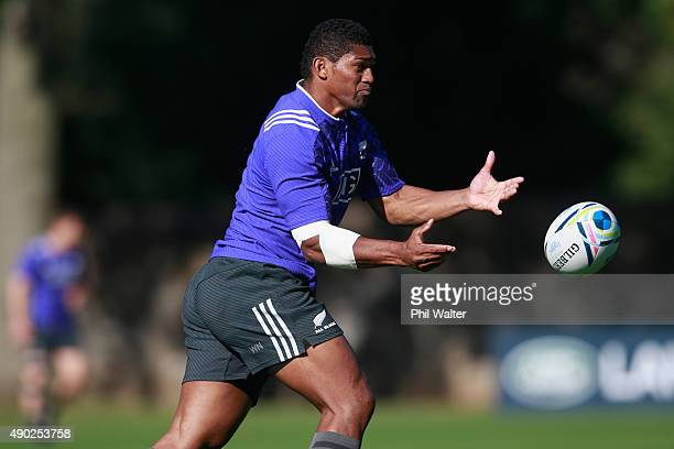 Waisake Naholo of the All Blacks passes during a New Zealand All Blacks training session at Sophia Gardens on September 27 2015 in Cardiff United...