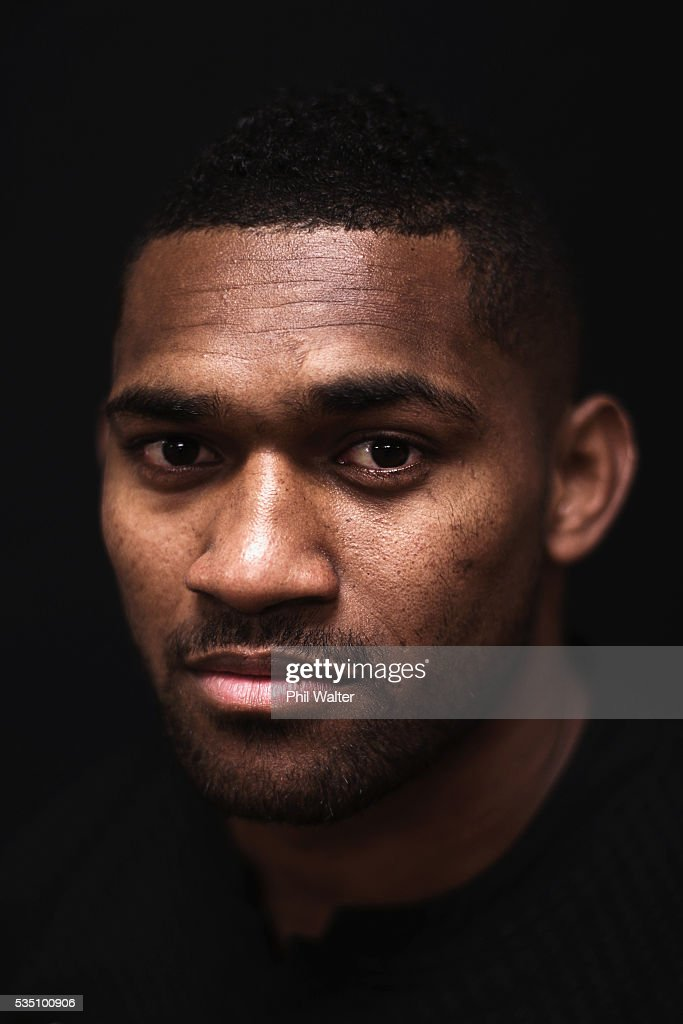 Waisake Naholo of the All Blacks poses for a portrait during a New Zealand All Black portrait session on May 29, 2016 in Auckland, New Zealand.