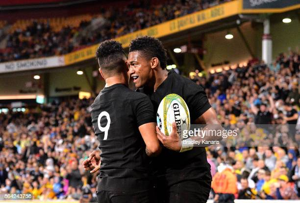 Waisake Naholo of the All Blacks scores a try during the Bledisloe Cup match between the Australian Wallabies and the New Zealand All Blacks at...