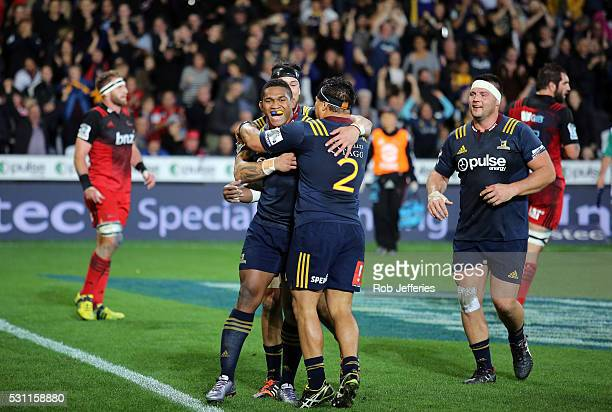 Waisake Naholo of the Highlanders celebrates scoring a try during the round twelve Super Rugby match between the Highlanders and the Crusaders at...