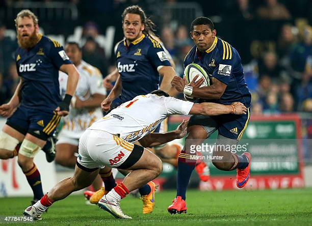 Waisake Naholo of the Highlanders is tackled during the Super Rugby Qualifying Final match between the Highlanders and the Chiefs at Forsyth Barr...