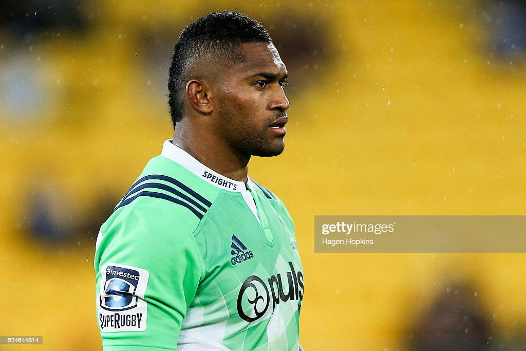 <a gi-track='captionPersonalityLinkClicked' href=/galleries/search?phrase=Waisake+Naholo&family=editorial&specificpeople=7427425 ng-click='$event.stopPropagation()'>Waisake Naholo</a> of the Highlanders looks on during the round 14 Super Rugby match between the Hurricanes and the Highlanders at Westpac Stadium on May 27, 2016 in Wellington, New Zealand.