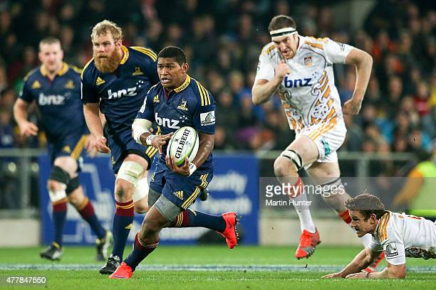 Waisake Naholo of the Highlanders makes a break during the Super Rugby Qualifying Final match between the Highlanders and the Chiefs at Forsyth Barr...