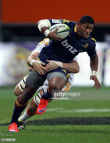 Waisake Naholo of the Highlanders on he attack during the Super Rugby Qualifying Final match between the Highlanders and the Chiefs at Forsyth Barr...