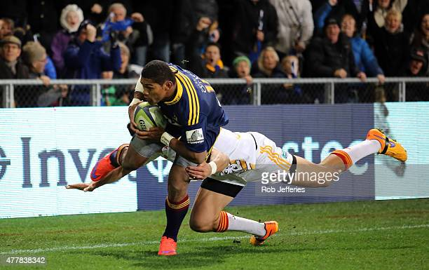 Waisake Naholo of the Highlanders on his way to scoring a try during the Super Rugby Qualifying Final match between the Highlanders and the Chiefs at...