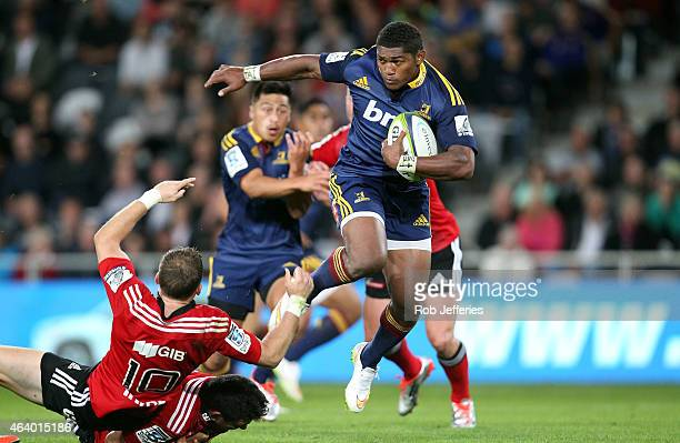 Waisake Naholo of the Highlanders on the attack during the round two Super Rugby match between the Highlanders and the Crusaders at Forsyth Barr...