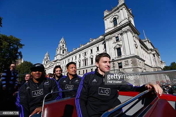 Waisake Naholo Samuel Whitelock Keven Mealamu and Beauden Barrett of the All Blacks take in the sights around London on an open top bus tour with...