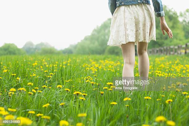 Waist down rear view of young woman strolling in field