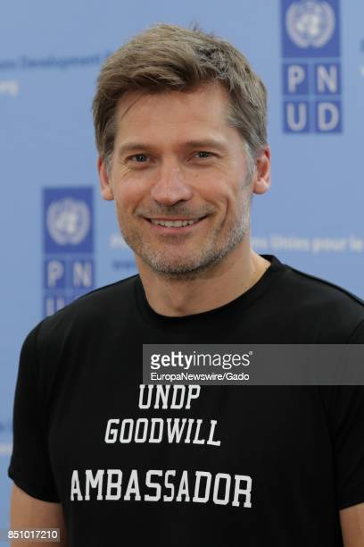 Waist up portrait of Game of Thrones Star Nikolaj CosterWaldau during the SDGs Global Goals World Cup at Brooklyn EXPO Center in New York City New...