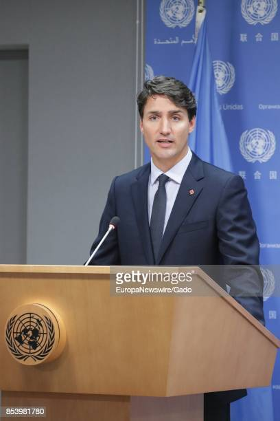 Waist up portrait of Justin Trudeau Prime Minister of Canada at the United Nations headquarters in New York City New York September 21 2017