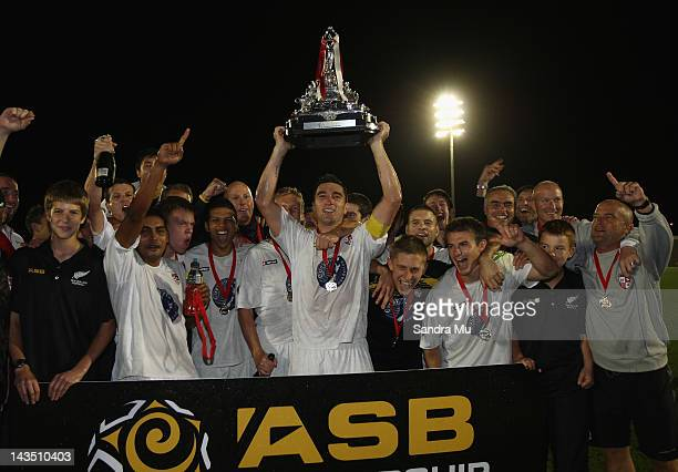 Waitakere celebrate after winning the 2012 ASB Premiership Grand Final match between Waitakere United and Team Wellington at The Trusts Stadium on...