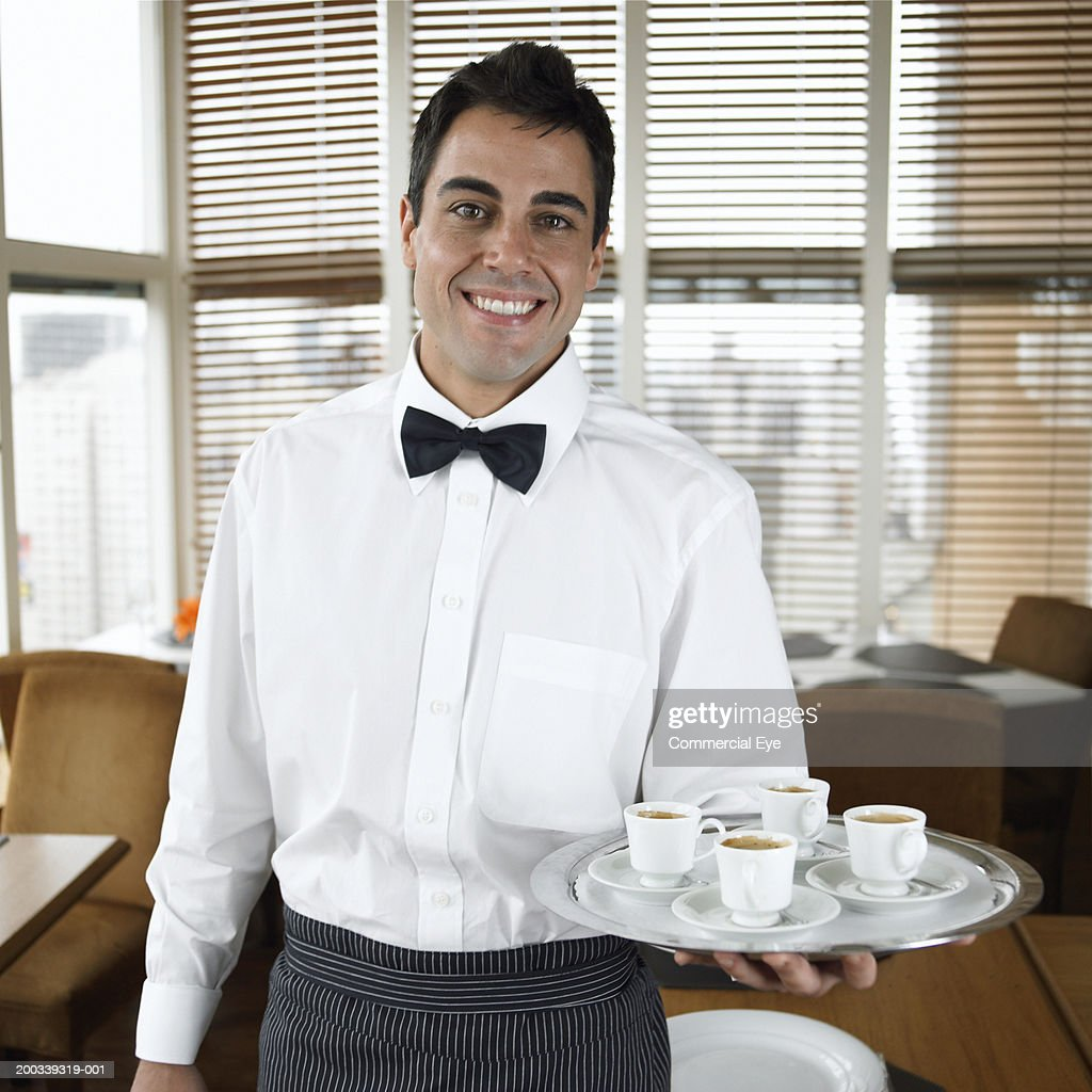 how to draw waiter holding a tray