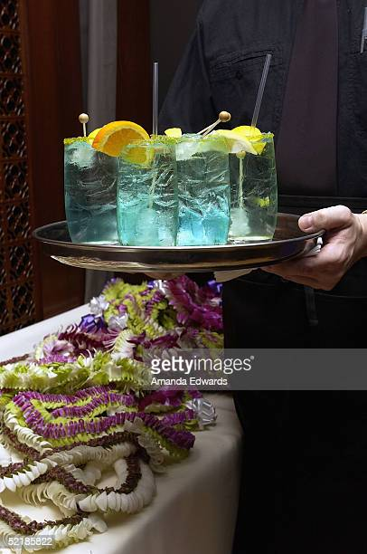 A waiter holds a tray of Waterfalls at the party for Hawaiian Grammy Nominees on February 11 2005 at the Hollywood Roosevelt Cinegrill in Hollywood...