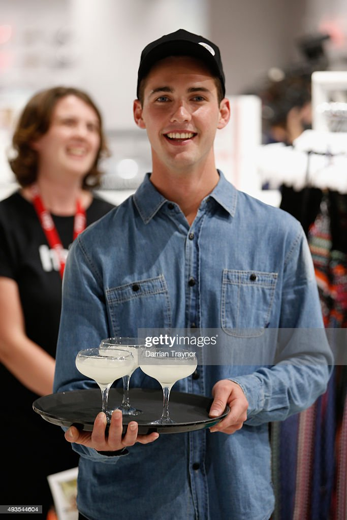 A waiter presents drinks to guests at the launch of the first Australian MRP store at Melbourne Central on October 21, 2015 in Melbourne, Australia.