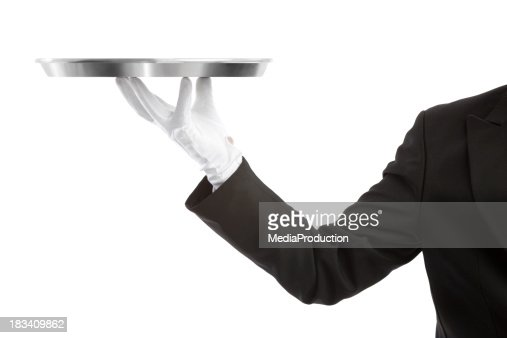 Waiter with an empty tray