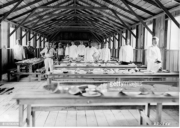 Waiters and cooks in the mess hall of Civilian Conservation Corps Havilah Camp F101 in Sequoia National Forest California July 1933 | Location...