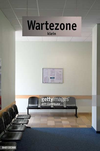 A waiting area can be seen inside of a Jobcenter in DuesseldorfMitte western Germany on August 25 2017 The number of people out of work has halved in...