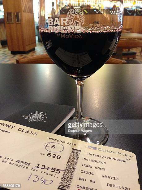 Waiting for a Hong Kong flight at Bar Pulpo with a glass of Shiraz Melbourne airport Victoria Australia