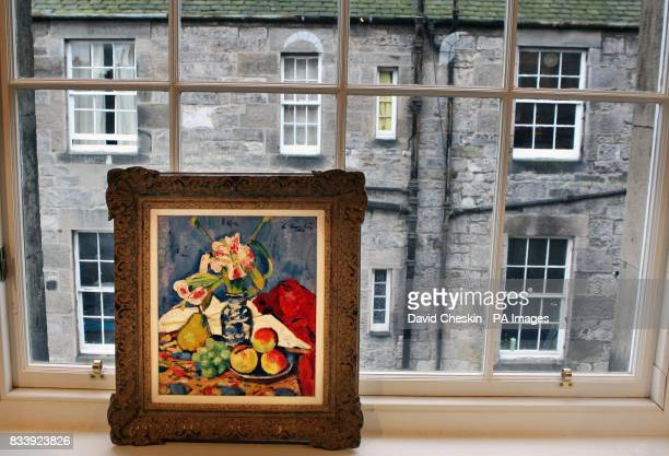 Still Life with Lilies and Fruit one of three paintings by Scottish colourist Leslie Hunter worth over 135000 to be auctioned on November 28 in...