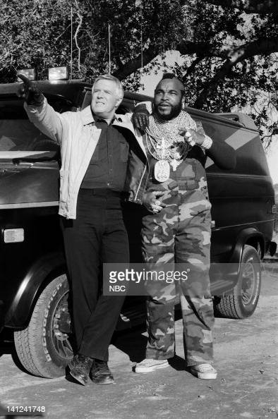 TEAM 'Waiting for Insane Wayne' Episode 17 Pictured George Peppard as John 'Hannibal' Smith Mr T as BA Baracus Photo by NBCU Photo Bank