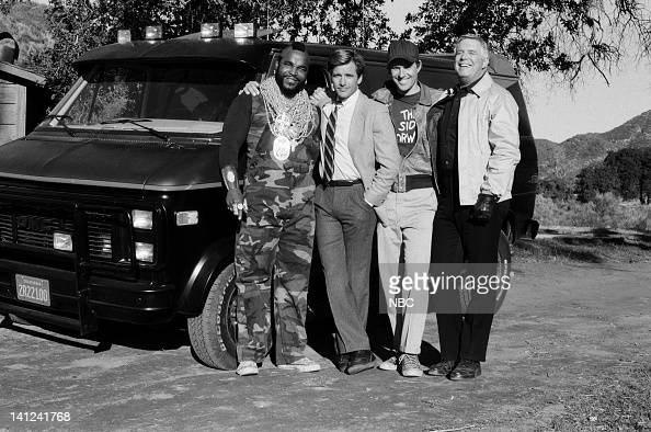 TEAM 'Waiting for Insane Wayne' Episode 17 Pictured Mr T as BA Baracus Dirk Benedict as Templeton 'Faceman' Peck Dwight Schultz as 'Howling Mad'...
