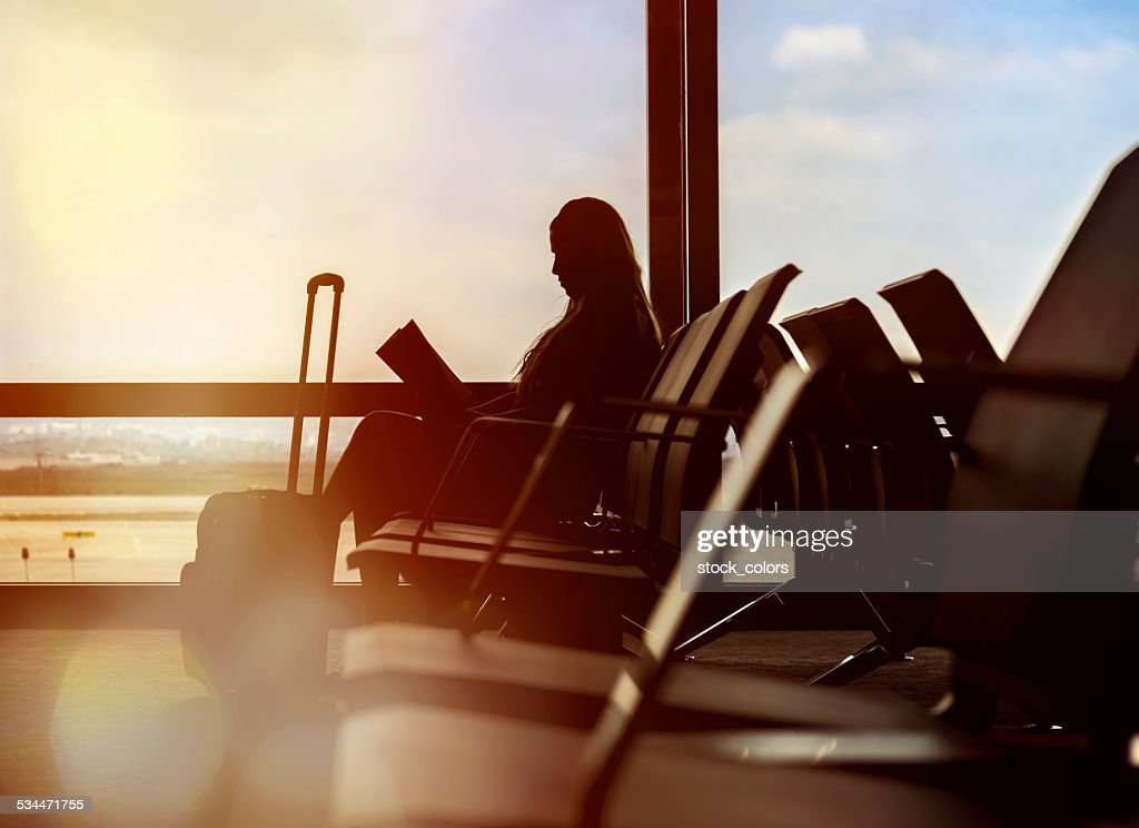waiting for my flight : Stock Photo