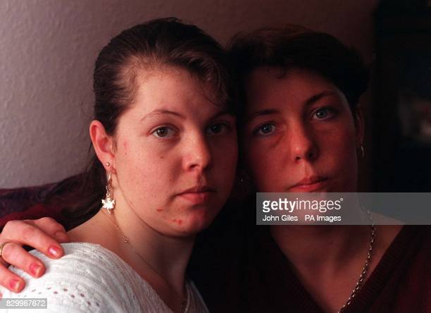 Waiting for news of their father trapped in the French lorry blockade sisters Donna and Nicki Boocock at their home in Silsden near Keighley today...