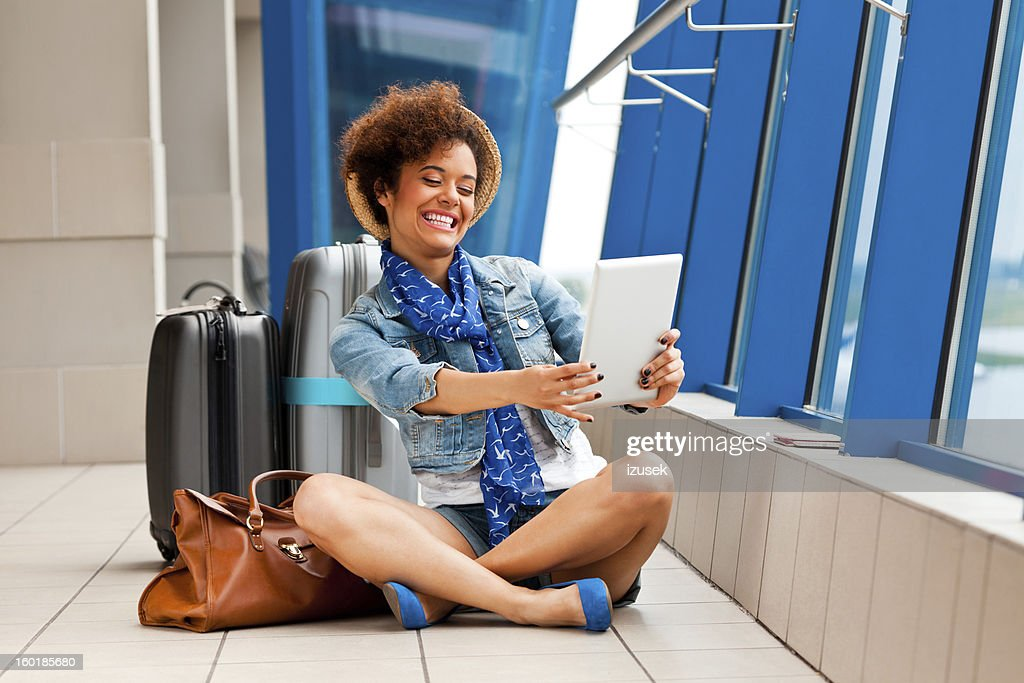 Waiting for the plane : Stock Photo