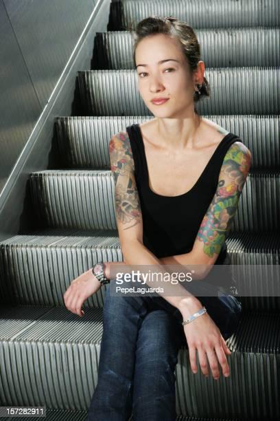 Waiting on escalator