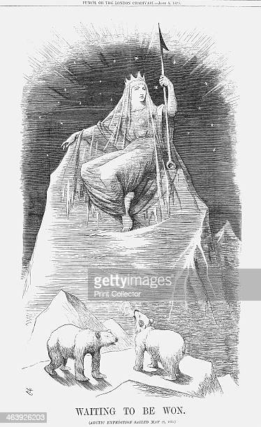 'Waiting to be Won' 1875 The Queen of the Arctic is perched on an iceberg with two polar bears at her feet This relates to the New Arctic Expedition...