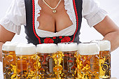 Waitress at beerfestival, closeup