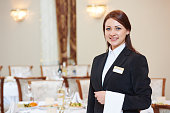 waiter manager occupation. Female waitress at restaurant catering service.