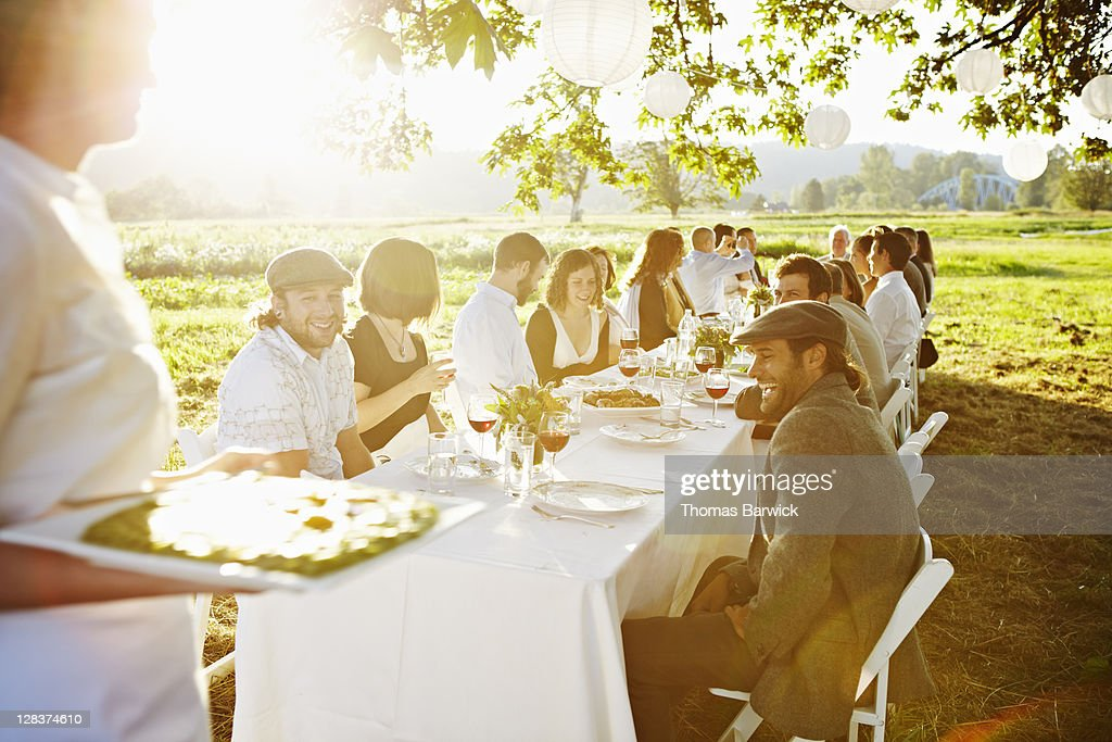 Waitress bringing food to group dining at table : Stock Photo