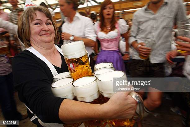 A waitress carries beer mugs after the opening of the Oktoberfest beer festival on September 20 2008 in Munich Germany The Oktoberfest is seen as the...