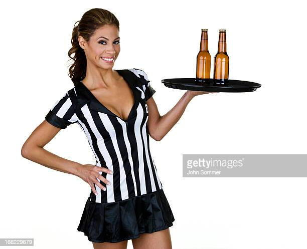 Waitress dressed as a referee