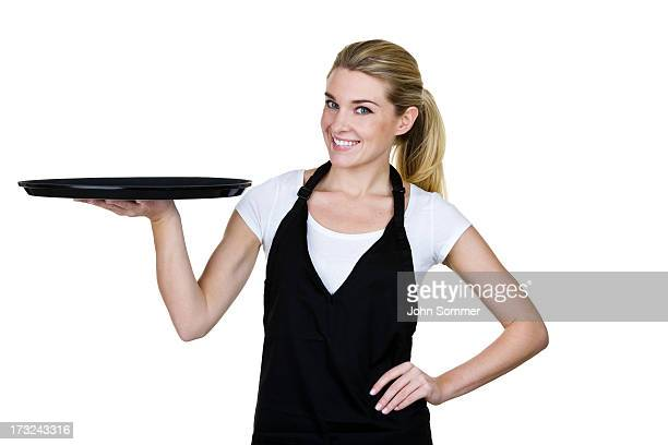 Waitress holding a serving tray