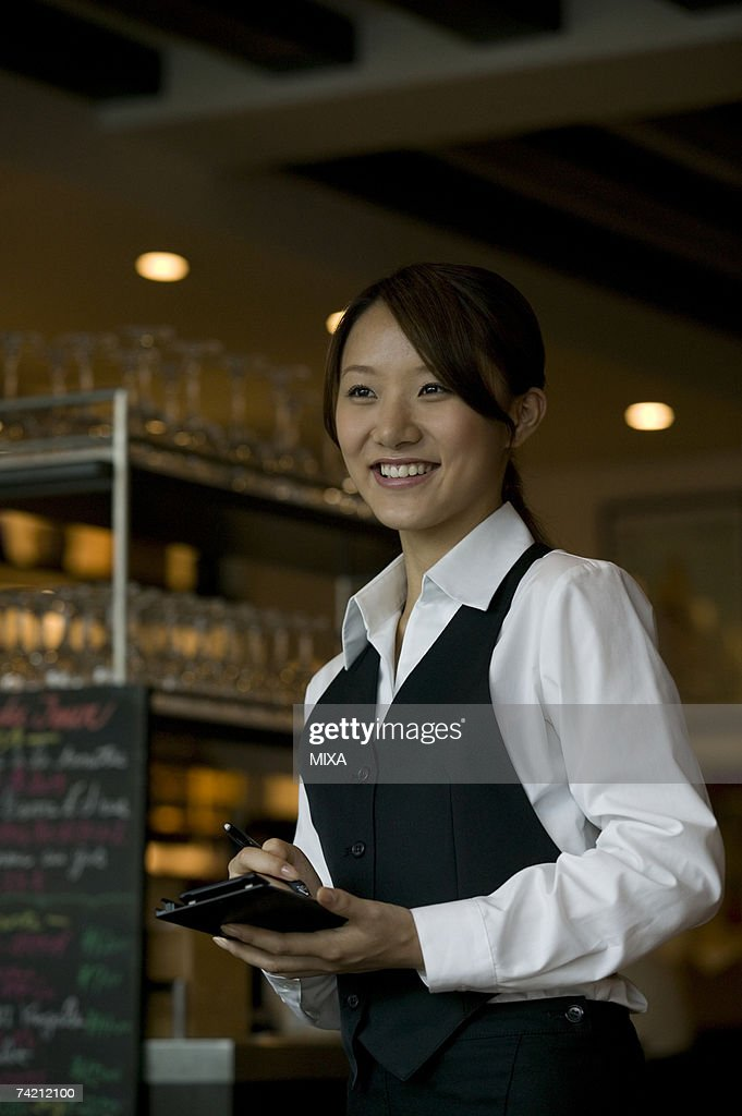 Waitress taking order : Stock Photo