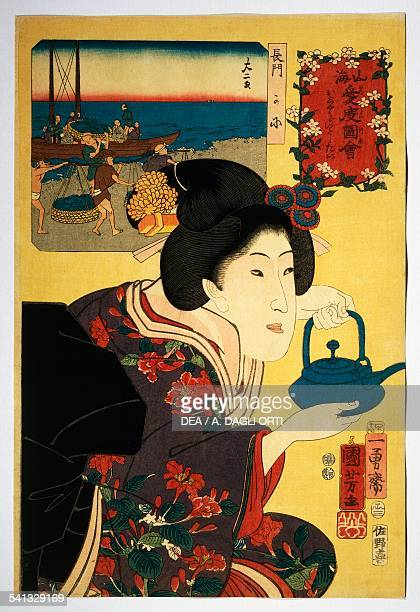 Waitress with sake kettle with Nagato beach depicted in the image in the background Senkai Medetai Zue series by Utagawa Kuniyoshi Oban woodcut...