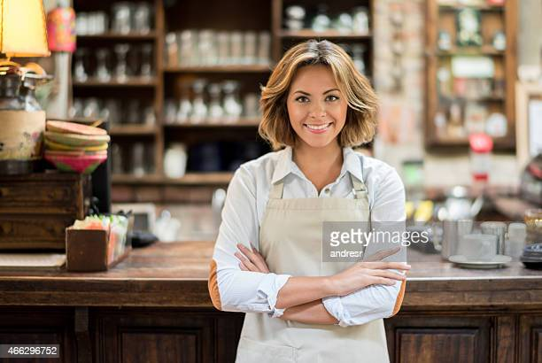 Waitress working at a cafe