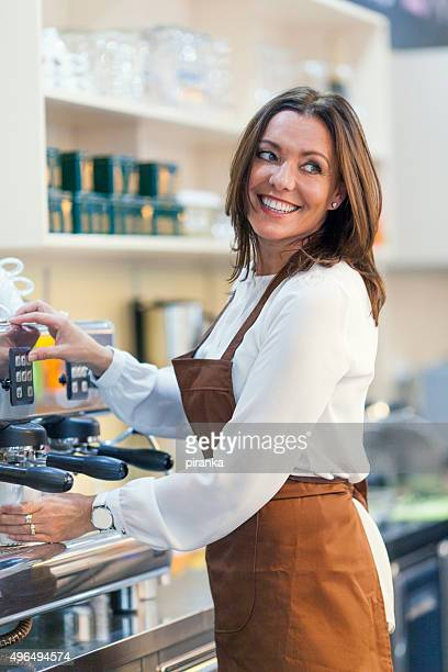 Waitress working in a coffee shop