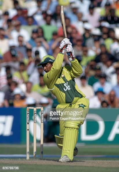 Wajahatullah Wasti batting for Pakistan during his innings of 84 in the World Cup Semi Final between New Zealand and Pakistan at Old Trafford...